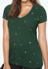 VICTORIA'S SECRET PINK PERFECT V-NECK TEE DARK IVY GREEN STARS SMALL T SHIRT TOP