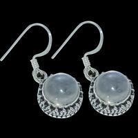 "Rainbow Moonstone Gemstone  925 Solid Sterling Silver Jewelry Earring 1.02 """