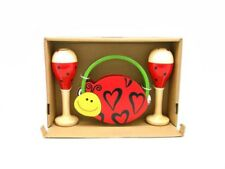 Wooden Maracas and Tambourine Kids Musical Set Ladybird Design