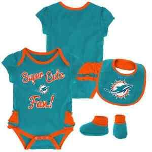 Miami Dolphins NFL Baby Girl Mini Trifecta Bodysuit, Bib & Booties Set 12 Months