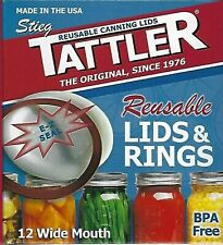 Authentic! TATTLER E-Z SEAL Canning Lids & Rings - Wide Mouth - 1 Dozen - White