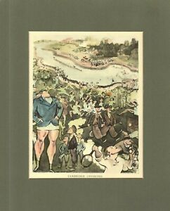 ART PRINT - CAMBRIDGE SPORTING BOYS CARICATURE - RUGBY, TENNIS, GOLF & BOATING