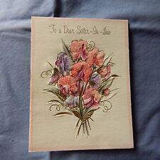 Vintage Birthday Card HALLMARK 15B 871-1, Sister-In-Law Pink Sweet Peas, Glitter