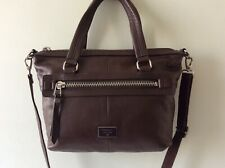 FOSSIL real leather ladies brown tote handbag with shoulder strap