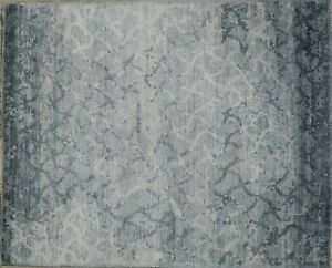 Silk Rug Hand Knotted, Abstract Diamond Pattern, Blue &Grey Color 8x10 -7019