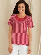 New American Sweetheart Red White Nautical Stripe Lace Collar Knit Top Size M