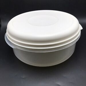 Rubbermaid Servin Saver Round Bowl Clear w Almond Lid #5 Large 22 Cups USA Vtg