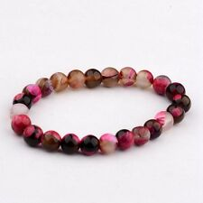 Fashion Solid Simple WIth Colorful Pink 8MM Beaded Stretch Women Bracelet  Gift