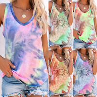 Women Summer Shirt Tank Tee Sleeveless Vest Blouse Base CAMI Tie-Dye Ladies Tops