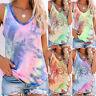 Women Summer Shirt Tank Tee Sleeveless Vest Blouse Base CAMI Tie-Dye Ladies Tops