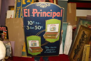 "Rare Large Vintage 1920's El Principal Cigars Tobacco General Store 38"" Sign"