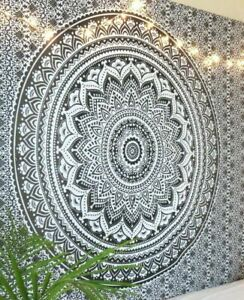 White & Beige Wall Hanging Bedspread Indian Mandala Twin Tapestry Home Decor Art