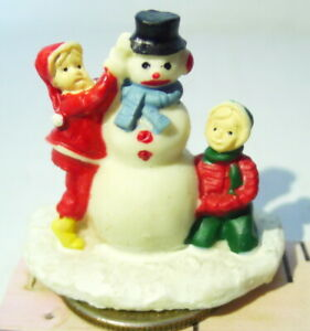 Grandeur Noel Victorian Village Kids and Snowman 1995 Christmas Decoration VTG