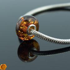 Genuine Cognac Baltic Amber Silver Charm Amber Trollbead Bracelet Beads