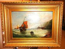 Sailboats Bay English Knight 19th c. Antique Original oil/canvas $8k+ NO RESERVE