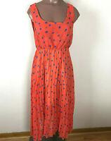 Impression Womens Sheer Lined Dress Orange/Blue Polka Dots Sheer Lower Hem