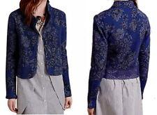 Anthropologie Evening Petals Jacket XSmall 0 2 Blue Motif Lace Hem Jacquard NWT