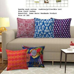 10 Pc Patchwork Kantha Cushion Cover, Handmade Antique Kantha Throw 16X16 Inches