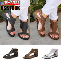 Womens Ankle Strap Sandals Ladies Summer Vintage Hollow Out Flat Gladiator Shoes