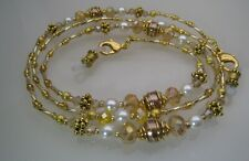 Spectacle Glasses Eyewear Beaded Chain Holder - Gold Crystal, White Pearl