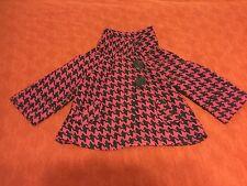 NWOT Mod Size XS Petite Simply Chloe Dao Fuchsia Houndstooth Pattern Coat