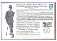FEUILLET PHILATELIQUE   SUR L'EXPOSITION FRANCE-LIBRE-RESISTANCE