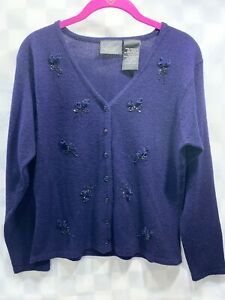 KATHIE LEE Collection Cardigan Sweater Blue Women's Size M 8-10