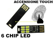 1pz 6 LED Chip Luce Touch Dimmer Bianco freddo attacco USB Lampada