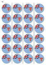 24X PRECUT FIJI FLAG BIRTHDAY EDIBLE WAFER PAPER, CUPCAKE, CAKE TOPPERS 1188