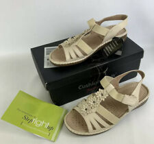 Cushion walk flexible comfort beige women's leather lined sandal shoes UK 7 EEE