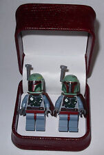 HAND MADE  STAR WARS BOBA FETT  LEGO CUFFLINKS W/ BEAUTIFUL JEWELRY BOX- GIFT