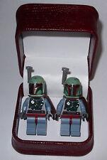HAND MADE  STAR WARS BOBA FETT  LEGO CUFFLINKS W/ BEAUTIFUL JEWELRY BOX- GIFT