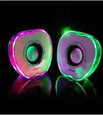 Portable Apple Shape Mini Speaker with LED light USB for Phone PSP MP3 PC Green