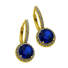 2.49CT Women's Classy Halo Drop Blue Sapphire Earrings 14K YG Plated 925 Silver
