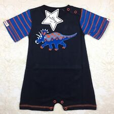 Baby Boys Hatley 3-6 Month Dinosaur Romper One Piece Short Sleeve Dark Blue Gift