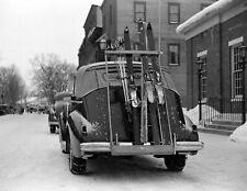 "1939 Car Headed For the Ski Slopes, Woodstock, VT Old Photo 8.5"" x 11"" Reprint"