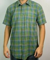 Orvis Mens Large Plaid Check Flannel Button Down Short Sleeve Shirt