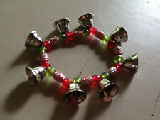 traditional christmas bell beaded stretch charm bracelet