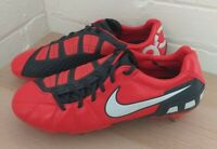 MENS RED NIKE TOTAL T90 SHOOT 3 STUDDED FOOTBALL BOOTS - SIZE UK 9 NEW