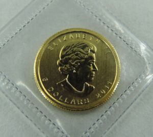 2011 1/10 oz $5 Gold Maple Leaf Coin 9999 Fine Au RCM Canada Royal Canadian Mint