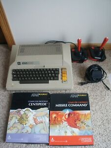 RARE Vtg Atari 800 Computer w/ Power Supply, 2 Joysticks & Games Missile Command