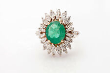 Vintage 1950 $15,000 12ct Colombian Emerald Diamond 14k White Gold Cocktail Ring