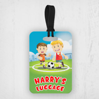 Personalised Kids Football Soccer Boys Custom Travel Suitcase Bag Luggage Tags