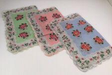 "Lot of 3 NEW Rose Print Handkerchiefs - Scallop Edge Cotton 12"" Square"