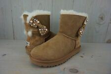 UGG MINI BAILEY BOW BRILLIANT BLING PEARL CHESTNUT SUEDE BOOTS  US 8   nib