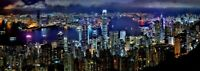 HONG KONG SKYLINE CANVAS PICTURE  WALL ART 16X38 INCHES