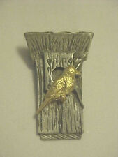 Bird &  Bird House Pin Signed M Bastin 2 Tone Metal Pewter Brass 3 dimensional