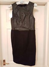 BNWT RRP £ 150 Vestido Forrado De Cuero Calvin Klein Negro Tamaño Mediano