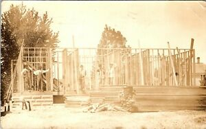 KALISPELL MONTANA HOUSE BEING BUILT OLD REAL PHOTO POSTCARD