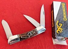 """Browning Knives 3-7/8"""" Brown Bone Stockman Stock 3220159 Knife MINT"""